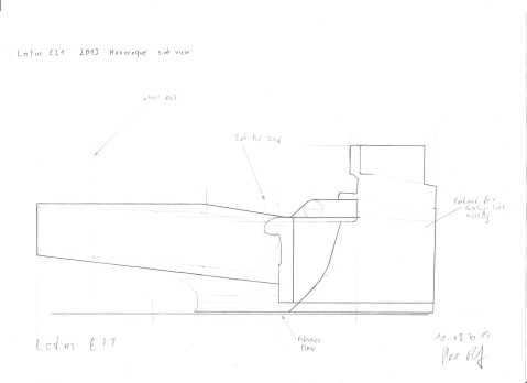 Lotus E21 Monocoque - side view drawing