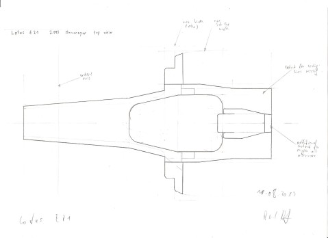 Lotus E21 Monocoque - top view drawing